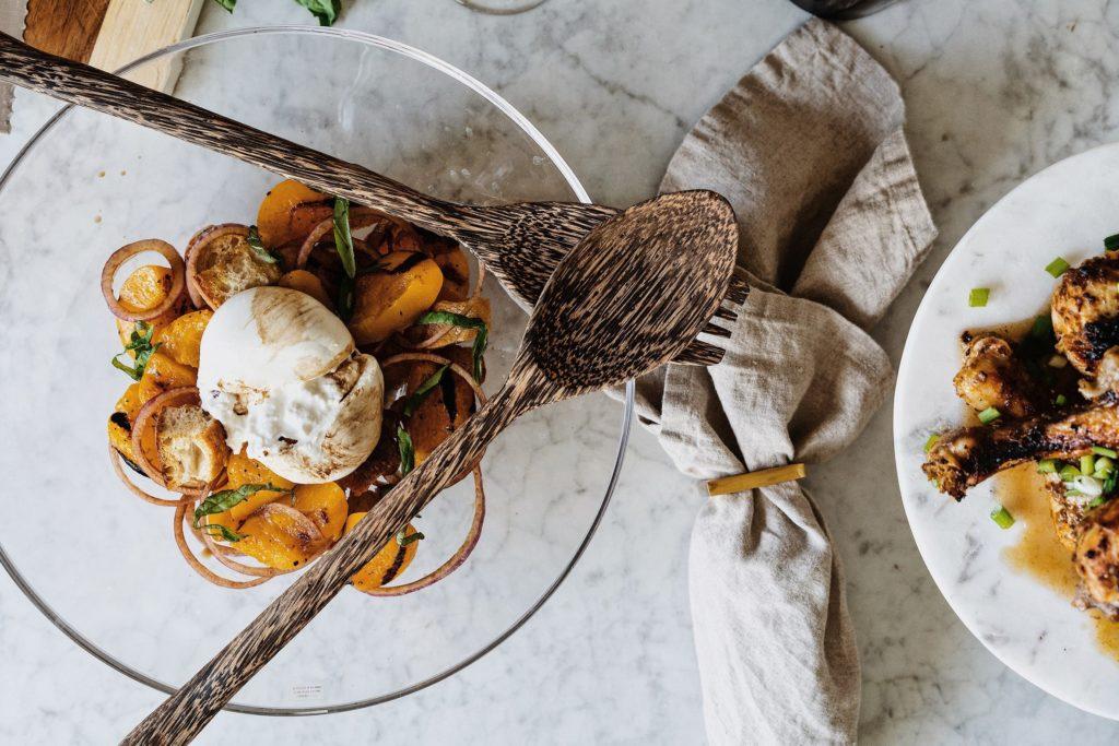 Peach and Burrata Panzella Salad